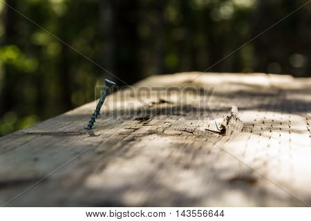 Screw on old wooden desk. Shallow DOF