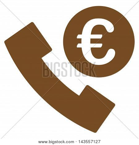 Euro Phone Order icon. Vector style is flat iconic symbol with rounded angles, brown color, white background.
