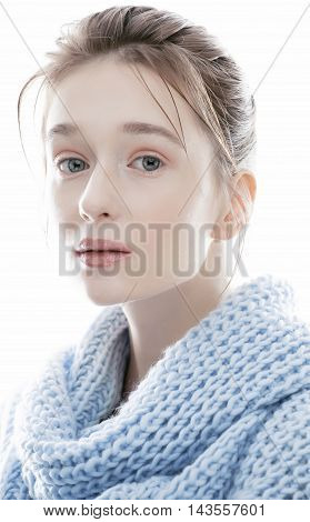 beauty young real blond woman in scarf with weathered lips close up isolated