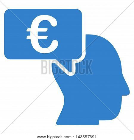Euro Businessman Idea icon. Vector style is flat iconic symbol with rounded angles, cobalt color, white background.