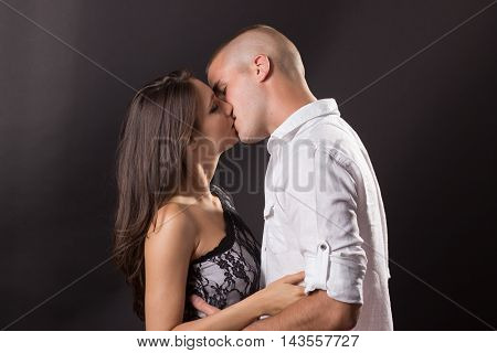 Young Couple 20 Years Old Kissing Boy Girl Man Woman Black Background