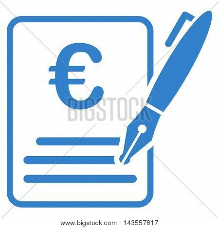 Euro Contract Signature icon. Vector style is flat iconic symbol with rounded angles, cobalt color, white background.