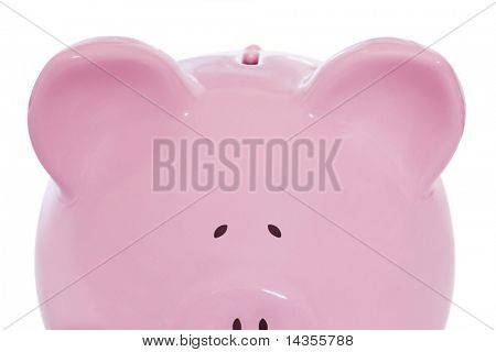 Pink ceramic piggy bank, peeking.  Safe to come out yet?
