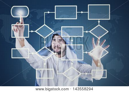 Portrait of Arabic businessman working with flow chart on the virtual screen while wearing traditional clothes