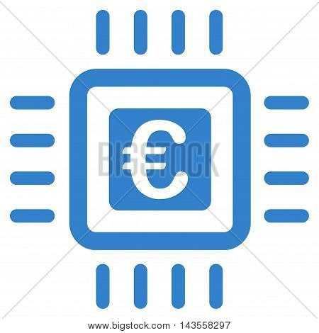 Euro Processor icon. Vector style is flat iconic symbol with rounded angles, cobalt color, white background.