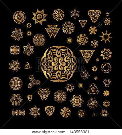 Ornamental Golden Round Lace Background