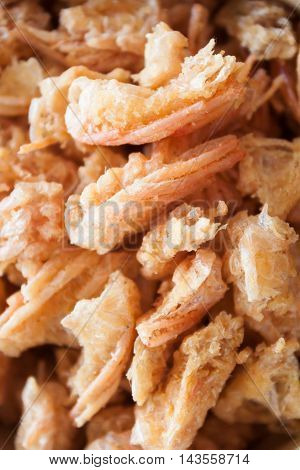 Closeup fried shrimp chins snack, stock photo