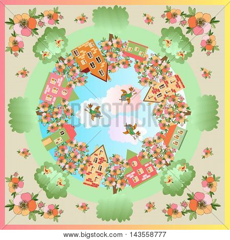 Spring day. Card with a beautiful city surrounded by flowering trees. Bandana print or silk neck scarf. Kerchief square pattern design style for print on fabric. Vector illustration.