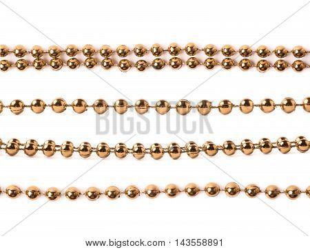 Line of golden beads garland thread isolated over the white background, set of four different foreshortenings