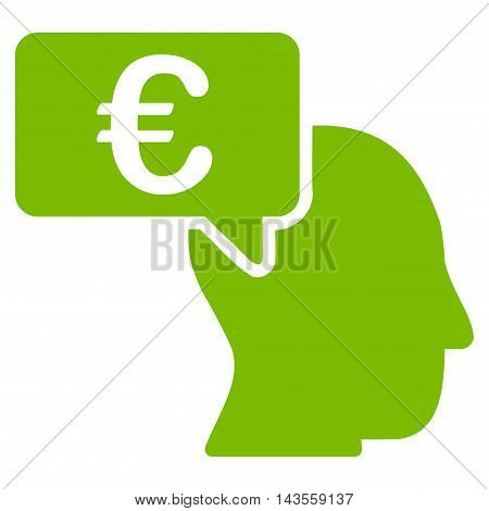 Euro Businessman Idea icon. Vector style is flat iconic symbol with rounded angles, eco green color, white background.