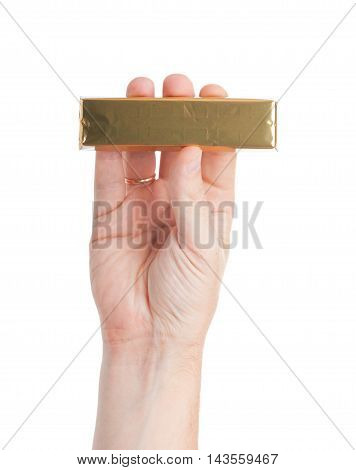 Hand Holds Tasty Chocolate. Isolated On A White Background.