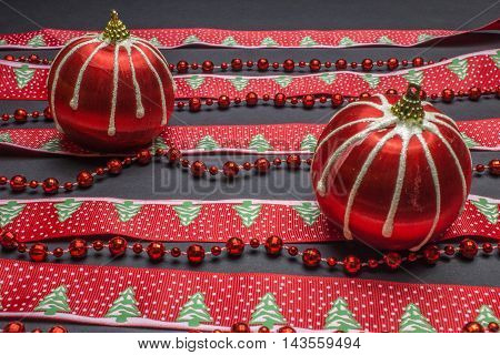 Christmas Decorations, Red Stripes Balls, Fir Tape And Beads