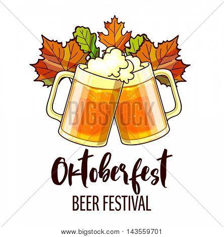 Octoberfest festival cartoon design with glass of beer, ears. OktoberfestVector Illustration.