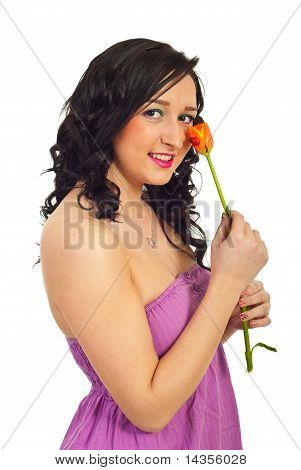 Smiling Woman Holding Tulip With Ladybird