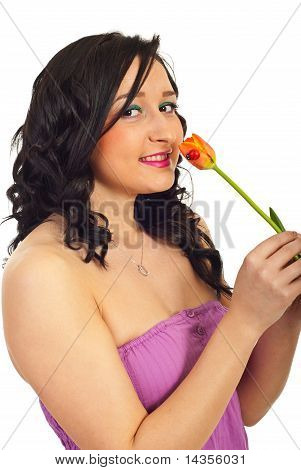 Young Woman Hold Single Tulip