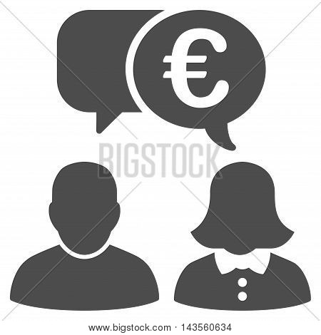 Euro Chat icon. Vector style is flat iconic symbol with rounded angles, gray color, white background.
