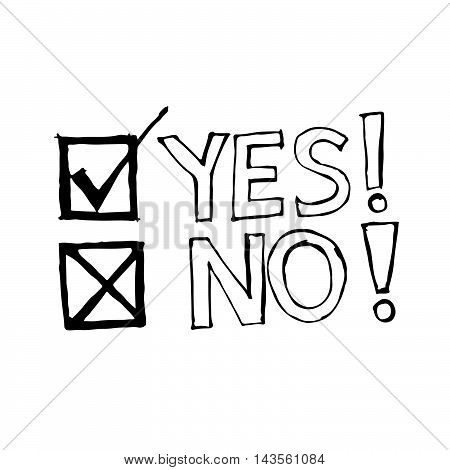doodle yes no icon drawing illustration design
