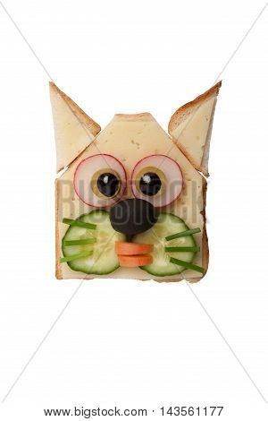 Funny cat made of toast cheese and vegetables on isolated background