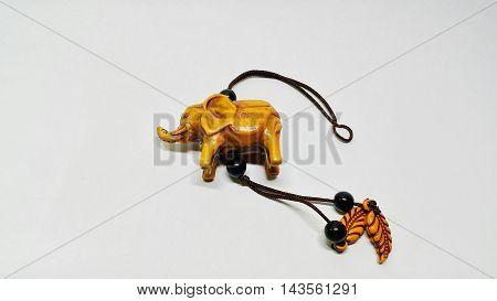 Elephant keychain isolated on white, Small elephant on white background