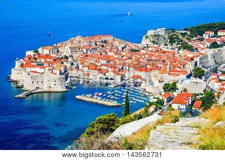 Dubrovnik Croatia. Picturesque view on the old town (medieval Ragusa) and Dalmatian Coast of Adriatic Sea.