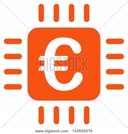 Euro Chip icon. Vector style is flat iconic symbol with rounded angles, orange color, white background.
