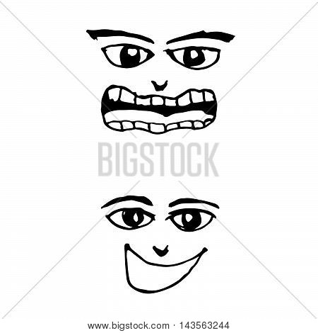 doodle emotion face icon hand draw illustration design
