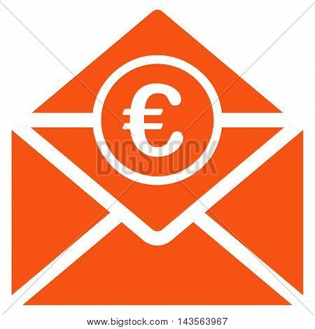 Euro Mail icon. Vector style is flat iconic symbol with rounded angles, orange color, white background.