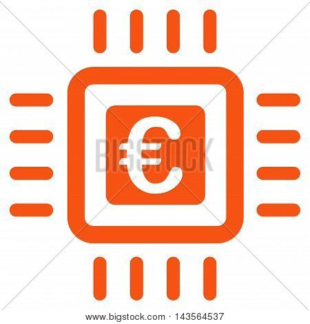 Euro Processor icon. Vector style is flat iconic symbol with rounded angles, orange color, white background.