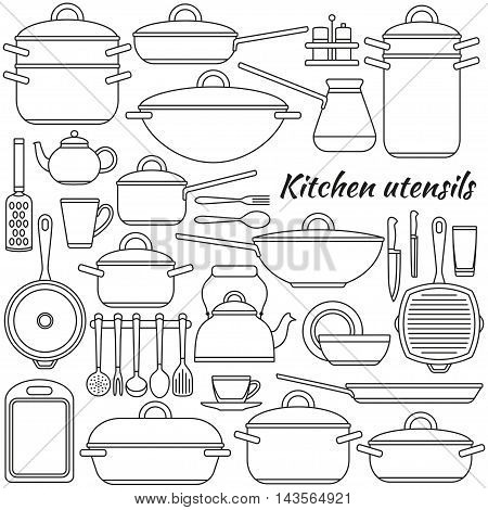 Kitchen utensils colorful icons set. Vector illustration.