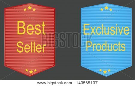 Best seller exclusiveproducts banners seais icons and badges