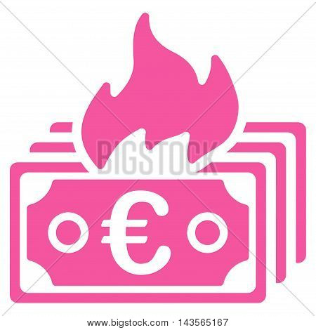 Burn Euro Banknotes icon. Vector style is flat iconic symbol with rounded angles, pink color, white background.