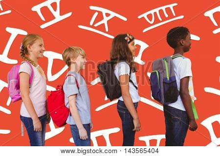 School kids standing in school corridor against red background