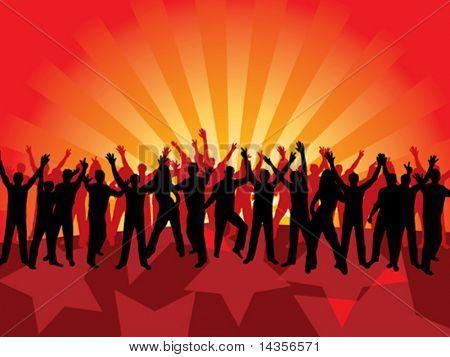 Fun dancing crowd. Vector illustration.