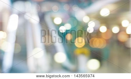 blurred escalator in shopping mall with bokeh for background