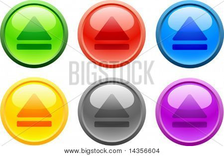 6 high-detailed buttons. Eject.  Vector illustration.