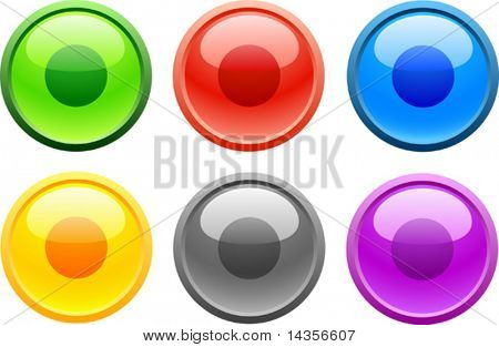 6 high-detailed buttons. Rec.  Vector illustration.