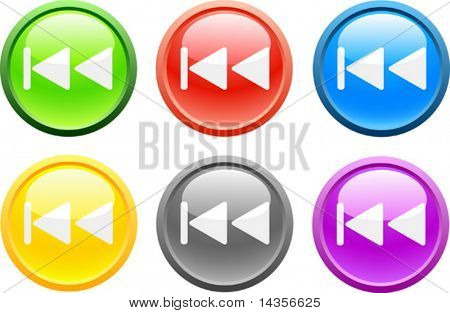 6 high-detailed buttons. Previous.  Vector illustration.