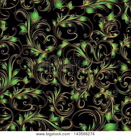 Dark elegance floral vector seamless pattern with vintage beautiful green flowers and ornaments on the black background. Luxury illustration and royal 3d decor elements with shadow and highlights. Endless elegant  texture.