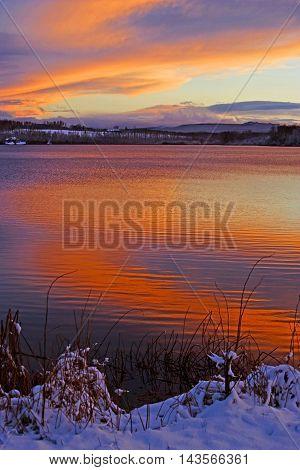 Winter Sunset at Round Lake British Columbia Canada