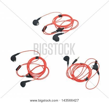 Pair of red headphones isolated over the white background, set of three different foreshortenings