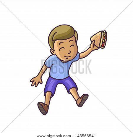 Boy sitting on floor top veiw. Happy child kid. Vector Illustration. Isolated on white.