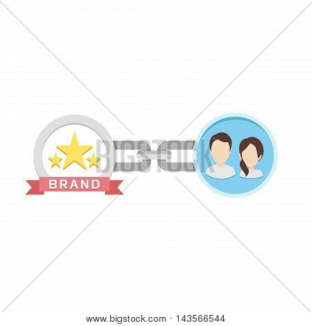Conceptual Vector Flat Illustration of Chain, Customers and Brand Depicting Brand Loyalty