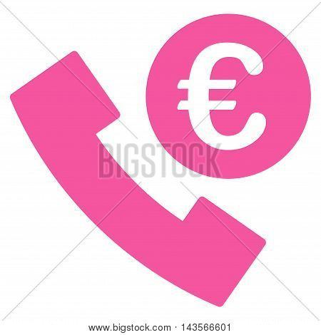 Euro Phone Order icon. Vector style is flat iconic symbol with rounded angles, pink color, white background.