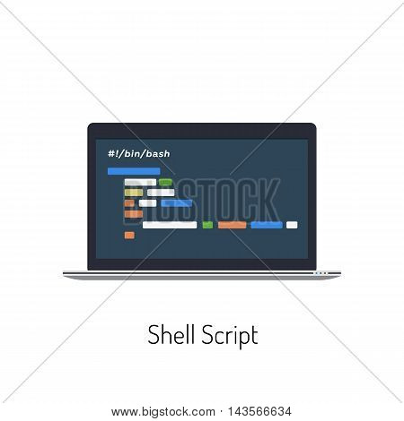 Vector Flat Illustration of a Laptop With a Shell Script on It