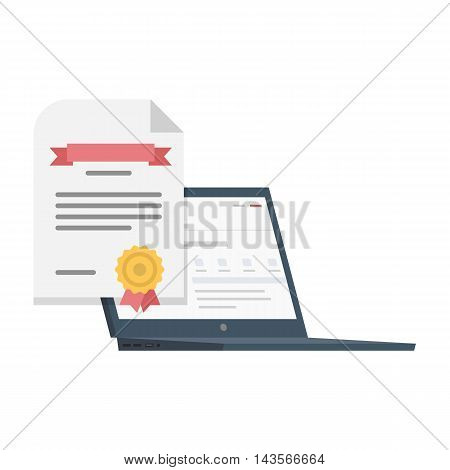 Vector Flat Illustration of a Laptop with a Certificate for a Software