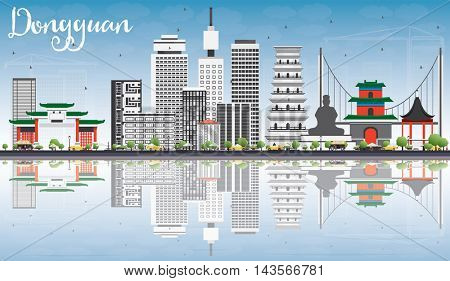 Dongguan Skyline with Gray Buildings, Blue Sky and Reflections. Business Travel and Tourism Concept with Modern Buildings. Image for Presentation Banner Placard and Web Site.