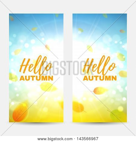 Set of vertical autumn banners. Collection of beautiful backgrounds with the falling leaves. Vector illustration.