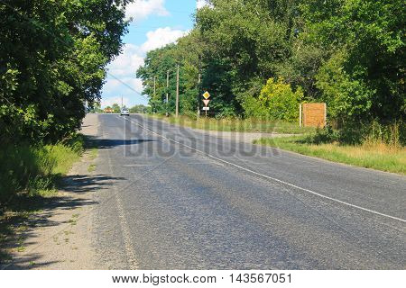 Asphalt road leading past the rows of green trees