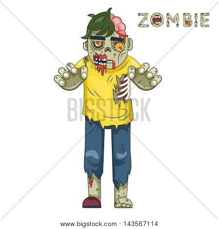 Halloween Party Zombie Role Character Bust Icons Stylish Background Flat Design Greeting Template Vector Illustration