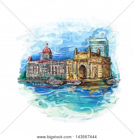 Mumbai India Gate and the Taj Mahal Hotel Mumbai the view from the Arabian Sea. Vector multicolor illustration.